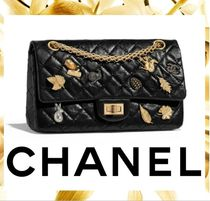 CHANEL Calfskin Chain Plain Elegant Style Handbags
