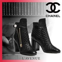 CHANEL Other Check Patterns Plain Toe Elegant Style Chunky Heels