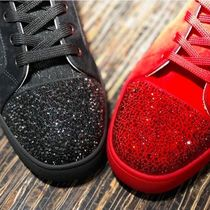 Christian Louboutin LOUIS Suede Blended Fabrics Plain With Jewels Sneakers