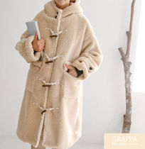Casual Style Faux Fur Plain Medium Duffle Coats