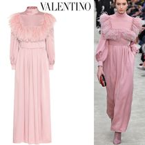 VALENTINO Maxi Long Sleeves Plain Long Party Style High-Neck Dresses
