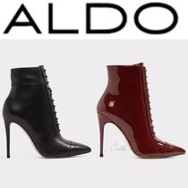 ALDO Lace-up Plain Leather Pin Heels Elegant Style Lace-up Boots