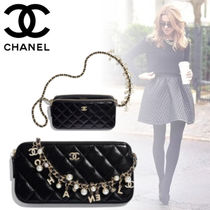 CHANEL Lambskin Chain Elegant Style Clutches
