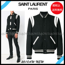 Saint Laurent TEDDY Short Wool Blended Fabrics Plain Varsity Jackets