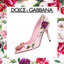 Dolce & Gabbana Flower Patterns Enamel Blended Fabrics Pin Heels Party Style