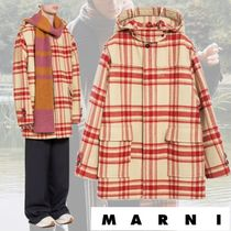 MARNI Gingham Tartan Unisex Wool Long Peacoats Coats