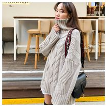 Cable Knit Casual Style Long Sleeves Plain Medium Oversized