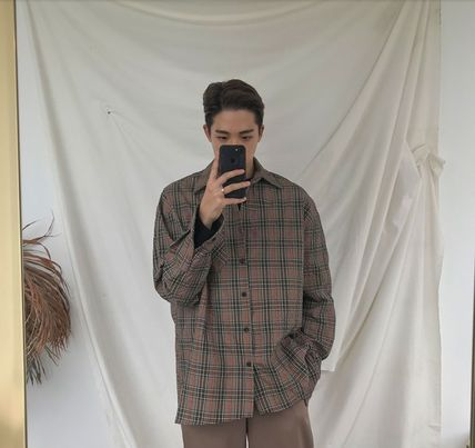 ASCLO Shirts Pullovers Gingham Glen Patterns Unisex Street Style 11