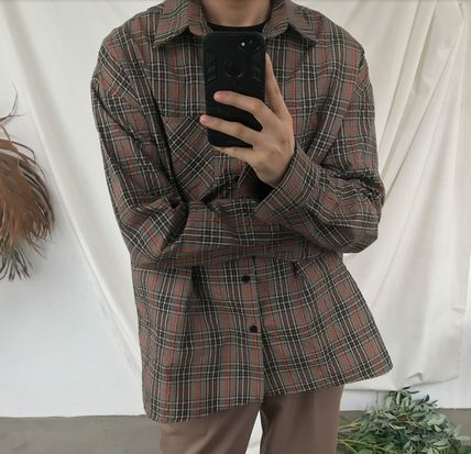 ASCLO Shirts Pullovers Gingham Glen Patterns Unisex Street Style 12