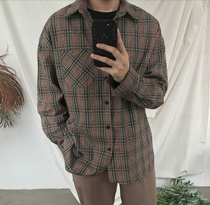 ASCLO Shirts Pullovers Gingham Glen Patterns Unisex Street Style 13