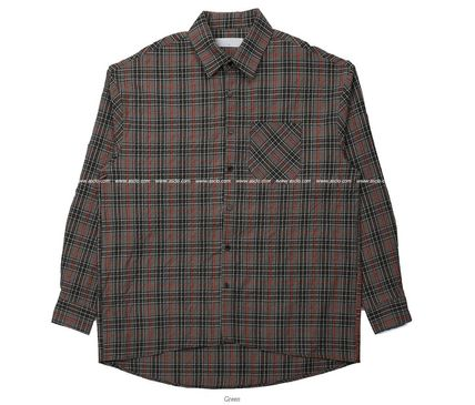 ASCLO Shirts Pullovers Gingham Glen Patterns Unisex Street Style 18