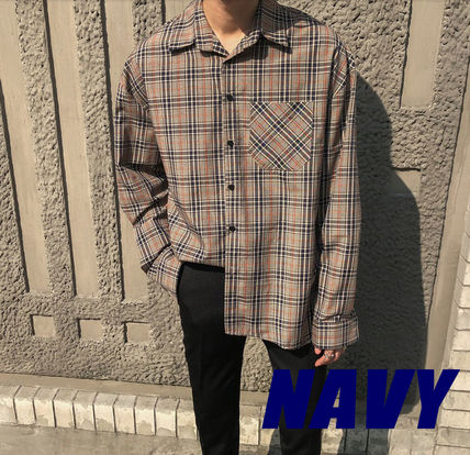 ASCLO Shirts Pullovers Gingham Glen Patterns Unisex Street Style 2