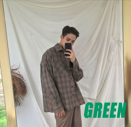 ASCLO Shirts Pullovers Gingham Glen Patterns Unisex Street Style 10