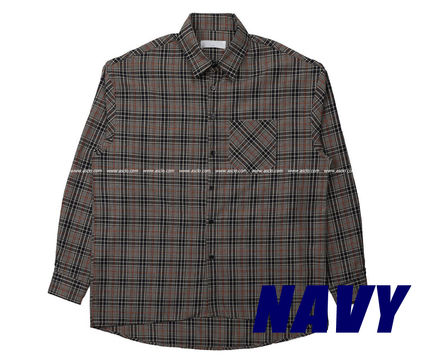 ASCLO Shirts Pullovers Gingham Glen Patterns Unisex Street Style 14