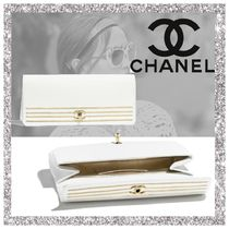 CHANEL Stripes Plain Clutches