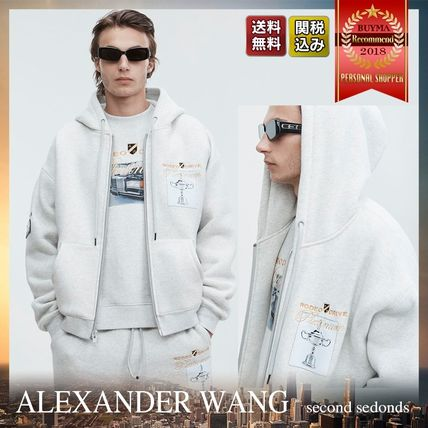 Alexander Wang Hoodies Street Style Long Sleeves Plain Cotton Oversized Hoodies
