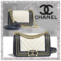 CHANEL BOY CHANEL Calfskin 2WAY Bi-color Plain Handbags