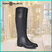 Tory Burch Round Toe Casual Style Block Heels Rain Boots Boots