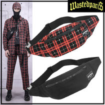 WASTED PARIS Tartan Unisex Street Style Messenger & Shoulder Bags