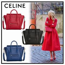 CELINE Luggage Calfskin 2WAY Plain Elegant Style Crossbody Shoulder Bags