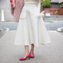 Flared Skirts Casual Style Street Style Plain Cotton Long