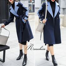 Bi-color Plain Medium Office Style Wrap Coats