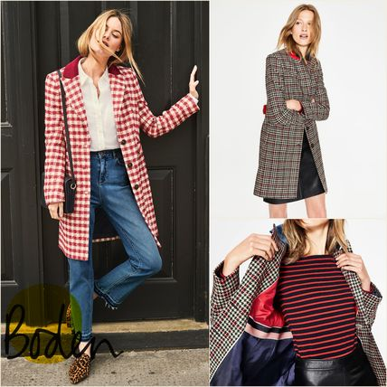 Other Check Patterns Wool Medium Coats