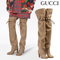 GUCCI Zigzag Leather Pin Heels Elegant Style Over-the-Knee Boots