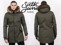 Sixth June Short Faux Fur Street Style Collaboration Plain Khaki Parkas