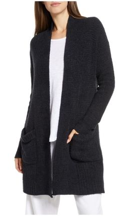 Cable Knit Casual Style Nylon Long Sleeves Plain Long