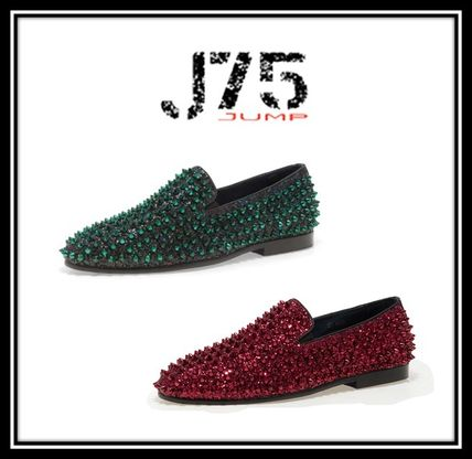 Plain With Jewels Bold Glitter Loafers & Slip-ons