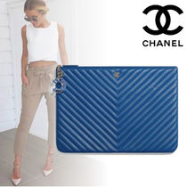 CHANEL Lambskin Elegant Style Clutches