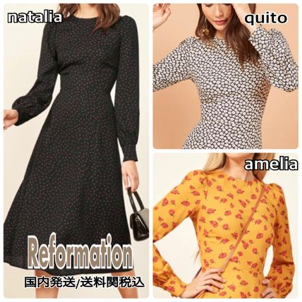 Crew Neck Flower Patterns Dots Flared Long Sleeves Dresses