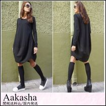 Aakasha Blended Fabrics U-Neck Long Sleeves Plain Cotton Long