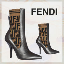 FENDI Leather Pin Heels Ankle & Booties Boots