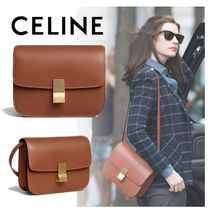 CELINE Classic 2WAY Plain Leather Elegant Style Shoulder Bags