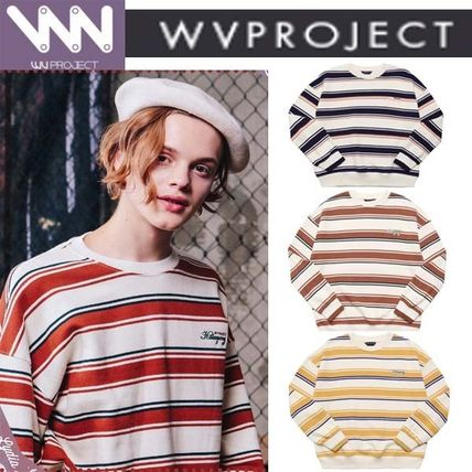 WV PROJECT Knits & Sweaters Pullovers Stripes Unisex Studded U-Neck Long Sleeves Cotton