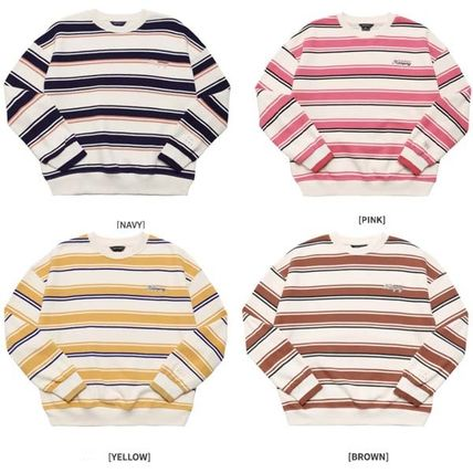 WV PROJECT Knits & Sweaters Pullovers Stripes Unisex Studded U-Neck Long Sleeves Cotton 2