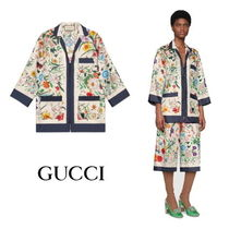 GUCCI Flower Patterns Silk Cropped Medium Shirts & Blouses
