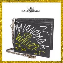 BALENCIAGA Unisex Street Style Chain Plain Leather Folding Wallets