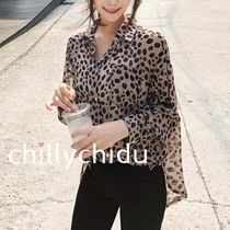 Leopard Patterns Long Sleeves Shirts & Blouses