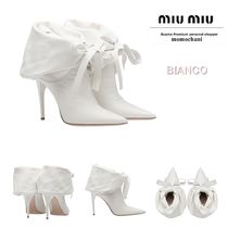 MiuMiu Plain Leather Pin Heels Party Style Ankle & Booties Boots
