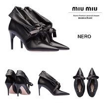 MiuMiu Plain Leather Pin Heels Elegant Style Ankle & Booties Boots