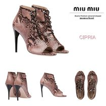 MiuMiu Leather Pin Heels Elegant Style Ankle & Booties Boots
