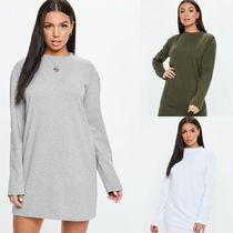 Missguided Casual Style Blended Fabrics Plain Cotton Long