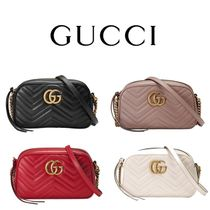 d35adccc8f04 GUCCI GG Marmont Casual Style Plain Leather Shoulder Bags