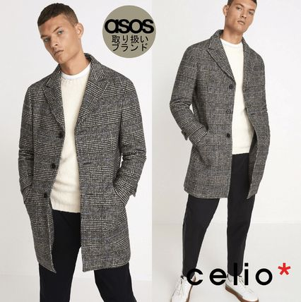 Other Check Patterns Wool Long Coats