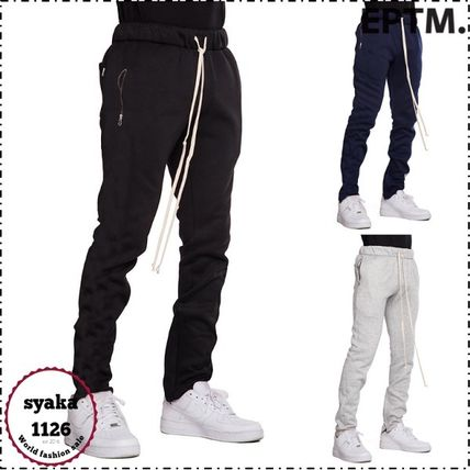 Street Style Plain Cotton Joggers & Sweatpants