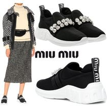 MiuMiu Round Toe With Jewels Low-Top Sneakers
