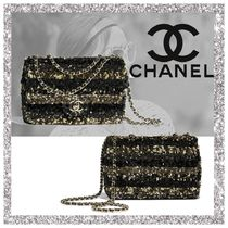 CHANEL Stripes Shoulder Bags
